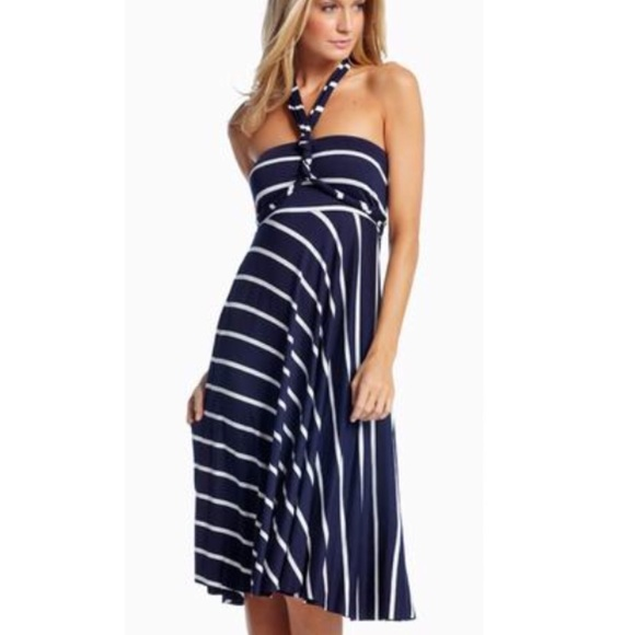 8a47f6fd02 Dresses | Elan Blue White Striped Convertible Skirt Dress Sm | Poshmark